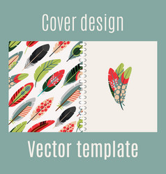cover design with feathers pattern vector image vector image