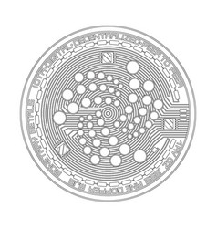 crypto currency iota black and white symbol vector image vector image