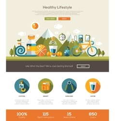 Healthy lifestyle website template with header vector image vector image