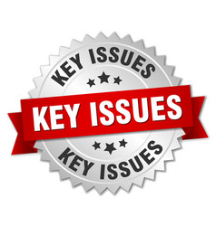 key issues round isolated silver badge vector image
