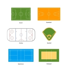 Sport fields marking for soccer basketball vector image