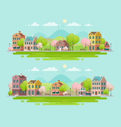 spring in small town urban landscape vector image