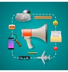 Digital and social marketing strategies vector image vector image