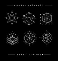 set of symbols and elements alchemy religion vector image vector image