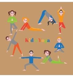 Yoga kids set Gymnastics for children and healthy vector image vector image