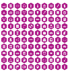 100 library icons hexagon violet vector