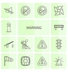 14 warning icons vector