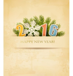 2016 with a snowflake on old paper background vector image
