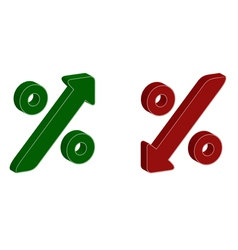 3D percentage symbol with up and down arrow vector