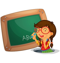 A girl writing on the board vector