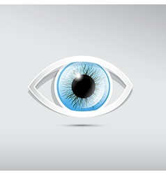 Abstract paper blue eye on grey background vector image