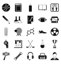 academy icons set simple style vector image