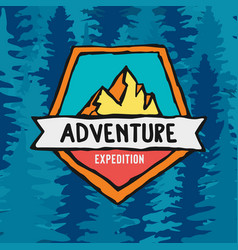 Adventure expedition label on pine tree background vector
