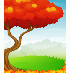 autumn background with red leaves vector image