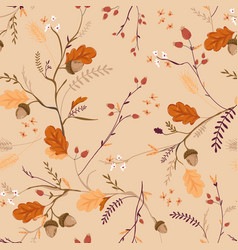 Autumn floral seamless pattern with acorns vector