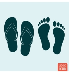 Beach slippers footprint icon isolated vector