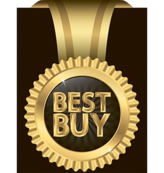 Best buy golden label with ribbons vector image
