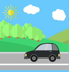 black car on a road on a sunny day vector image