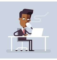 Black man has coffee break with a laptop vector