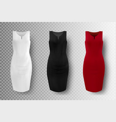black white and red dress mockup set vector image