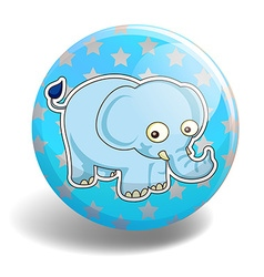 Blue elephant on the badge vector