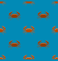 Boiled red crab with giant claws seamless pattern vector