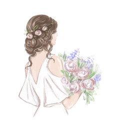 Bride with beautiful hairstyle hand drawn vector