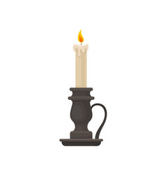 Burning candle in vintage candle holder vector