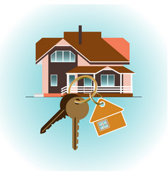 buying a new house keychain on house background vector image