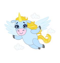 Cartoon light blue lovely flying unicorn colorful vector