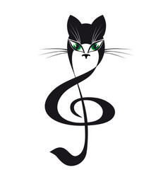 cat treble clef stylized cat music vector image