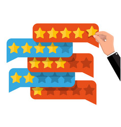 chat clouds with golden stars reviews five stars vector image