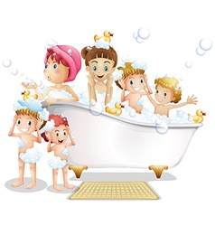 Children and bath vector image