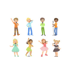 children singing with microphones teen boys and vector image