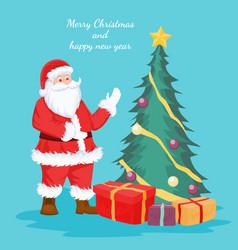 christmas card of santa claus and christmas tree vector image