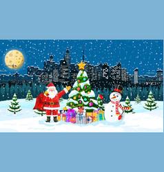 Christmas winter cityscape vector