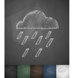 Cloud rain icon hand drawn vector