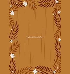 coconut leaves with flower flat design frame vector image