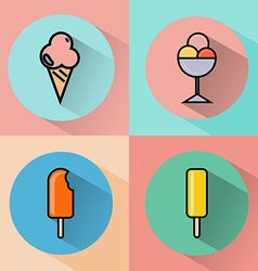 Colorful ice cream doodle icon set vector image