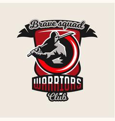 colorful logo emblem a ninja holding a katana vector image