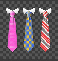Colorful realistic neck ties set isolated on vector