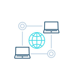 Computer network internet technologies line icon vector