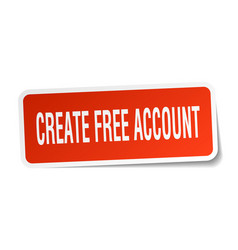 Create free account square sticker on white vector