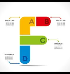 Creative alphabet f info-graphics design concept vector