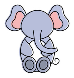 cute and tender elephant character vector image