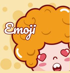 cute boy emoji cartoon vector image