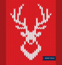 deer head knitted pattern on red background vector image