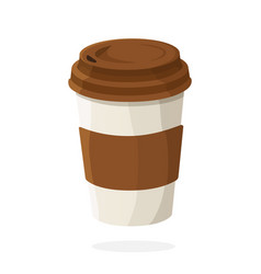 Disposable paper cup with coffee or tea vector