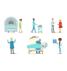 doctors examining and treating patients set vector image
