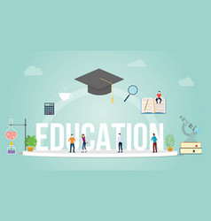 education big word concept with people student vector image